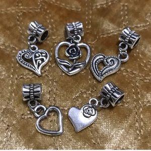 Jewelry - Heart flower dangle charm set fit pandora bracelet